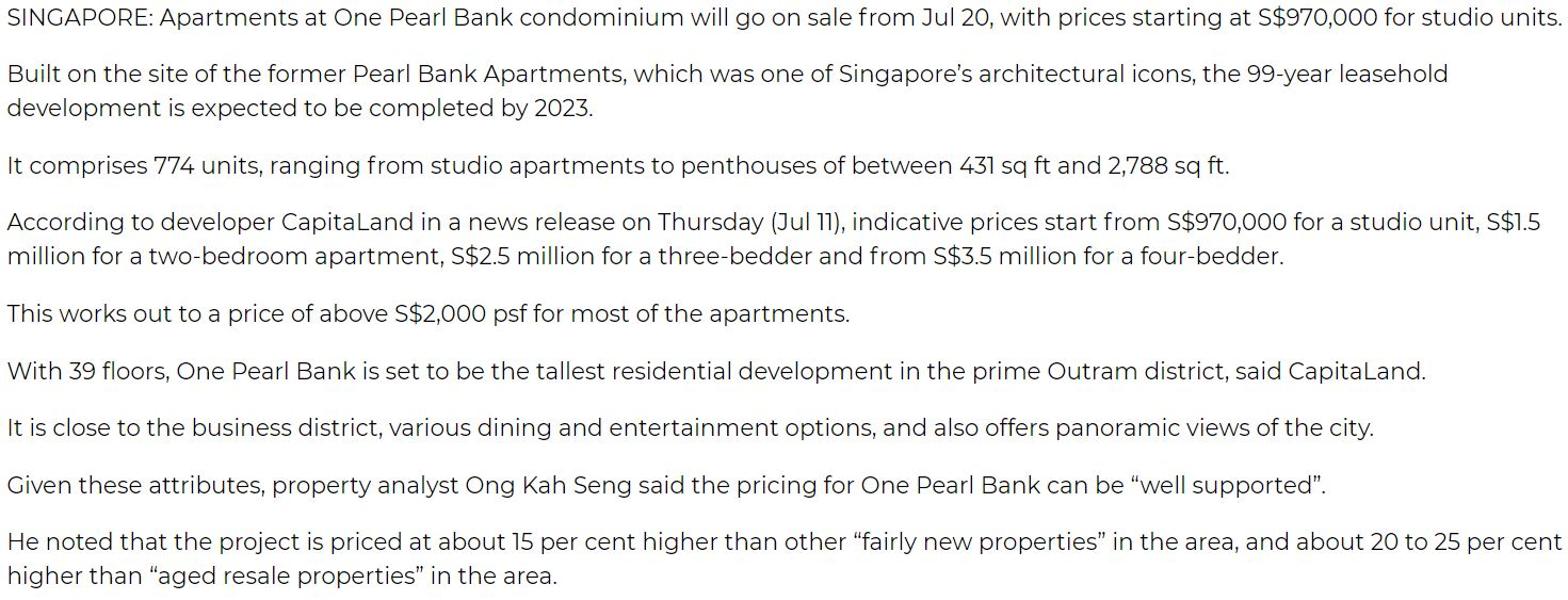 One-Pearl-Bank-condominium-to-go-on-sale-with-prices-starting-at-S$970,000-singapore
